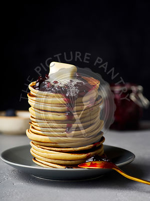 Pancakes with jam and butter