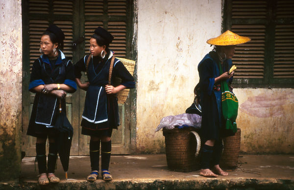 Black Hmong girls at Sa Pa. Northwest Vietnam.