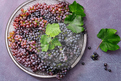 Bunches of organic currants on a plate.
