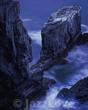 Scenic landscape of dramatic Pembrokeshire coast at night, South Wales, UK