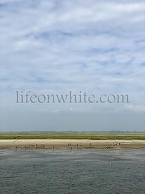 Unrecognizable people, tourist walking on the beach at Saint-Valery-sur-Somme