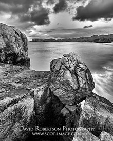 Image - Boulder at Oldshoremore, near Kinlochbervie, Sutherland, Highland, Scotland.  Black and white.