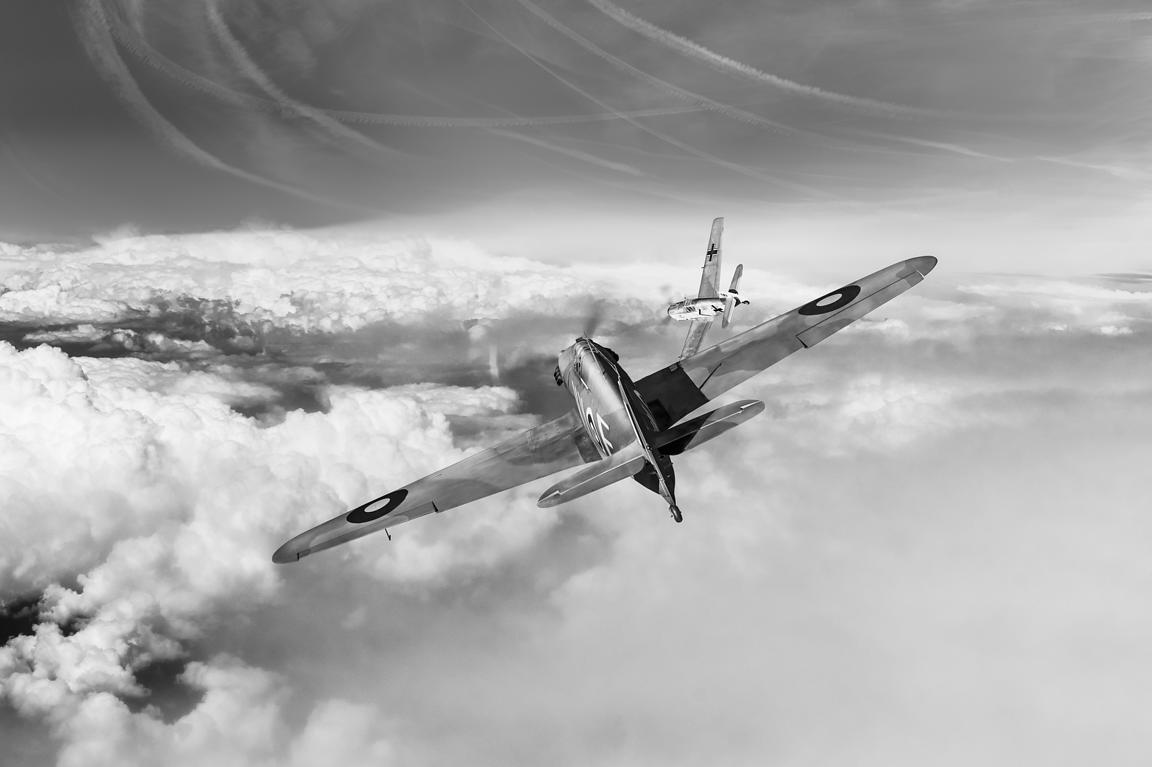 Hawker Hurricane deflection shot BW version