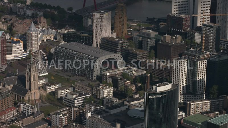 v000375 | Rotterdam, centrum Laurenskerk, Markthal, en Maritiem District