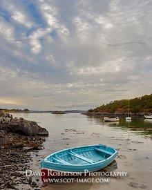 Prints & Stock Image - A mackerel sky above a small rowing boat, Glenuig, Moidart, Lochaber, Highland, Scotland