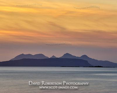 Prints & Stock Image - Sunset over the the Small Isles of Rhum and Eigg, viewed from near Glenuig, Moidart, Lochaber, Highlan...