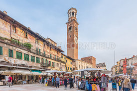 VERONA, ITALY - OCTOBER 26, 2017: Piazza Erbe in the heart of medieval city of Verona, Italy.