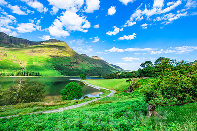 Idyllic landscape of Lake District in springtime..