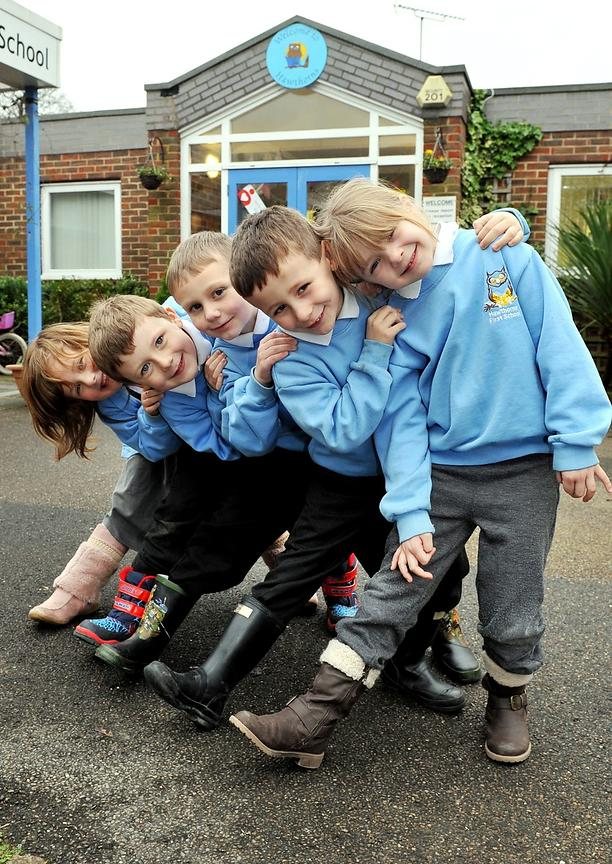 School. Boots are made for walking. Hawthorns First School. Sussex. Picture : Liz Pearce. 2014