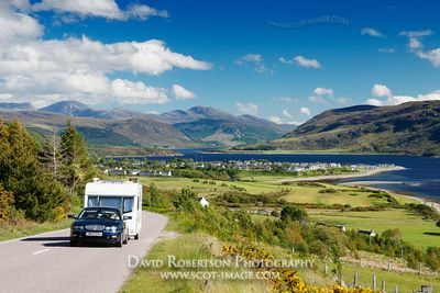 Image - Car and caravan, view over Ullapool, Scotland