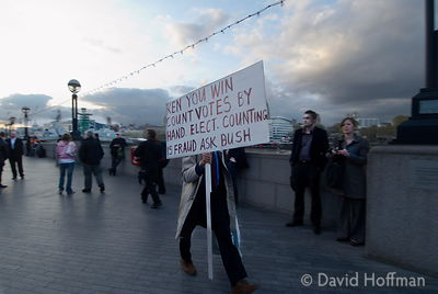 Pro Ken Livingstone protester outside City Hall as the mayoral rsul is awaited. 2 May 2008. City Hall as the result of the Ma...