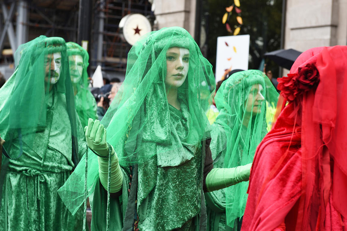 .Extinction Rebellion March...Extinction Rebellion march from Marble Arch along Oxford Street. ..London, UK. ..Picture: Liz P...