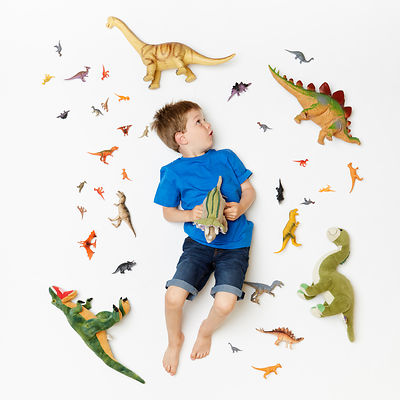 Boy surrounded by toy Dinosaurs.