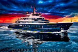 art,painting,airbrush,superyacht,scout,hakvoort,sunset