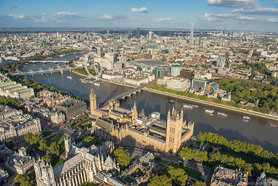 Palace of Westminster, Whitehall and River Thames.