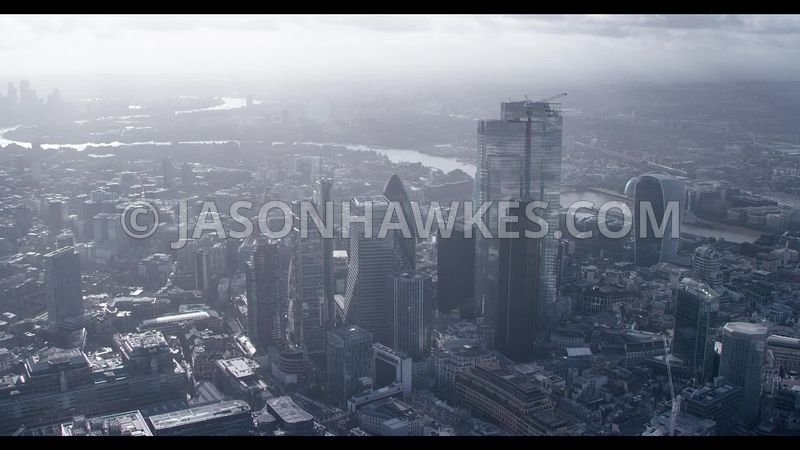 Aerial ( helicopter ) footage of the City of London.