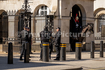 Armed police in Whitehall by Horseguards Parade