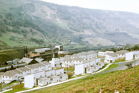 #012503,  Newly built housing, Aberfan, Glamorgan, South Wales, 1975.  The Aberfan disaster happened on 21st October 1966 whe...
