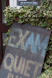 #73075,  Exam sign, Summerhill School, Leiston, Suffolk. The school was founded by A.S.Neill in 1921 and is run on democratic...