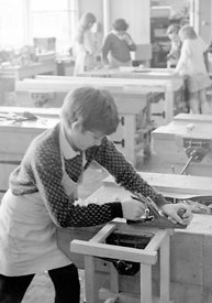 #83652,  Woodwork class, Whitworth Comprehensive School, Whitworth, Lancashire.  1970.  Shot for the book, 'Family and School...