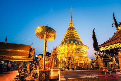 Wat Phra That Doi Suthep illuminated, Chiang Mai, Thailand
