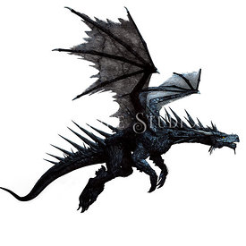 Black Spiked Fantasy Dragon