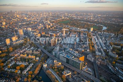 Paddington, Paddington Basin, Paddington Station, London, aerial view.