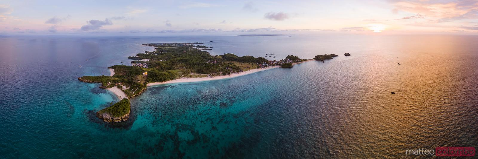 Aerial view of Malapascua island at sunset, Philippines