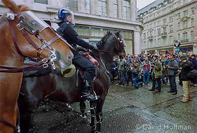 01050101-19 Police at the Mayday protests, central London, 2001.