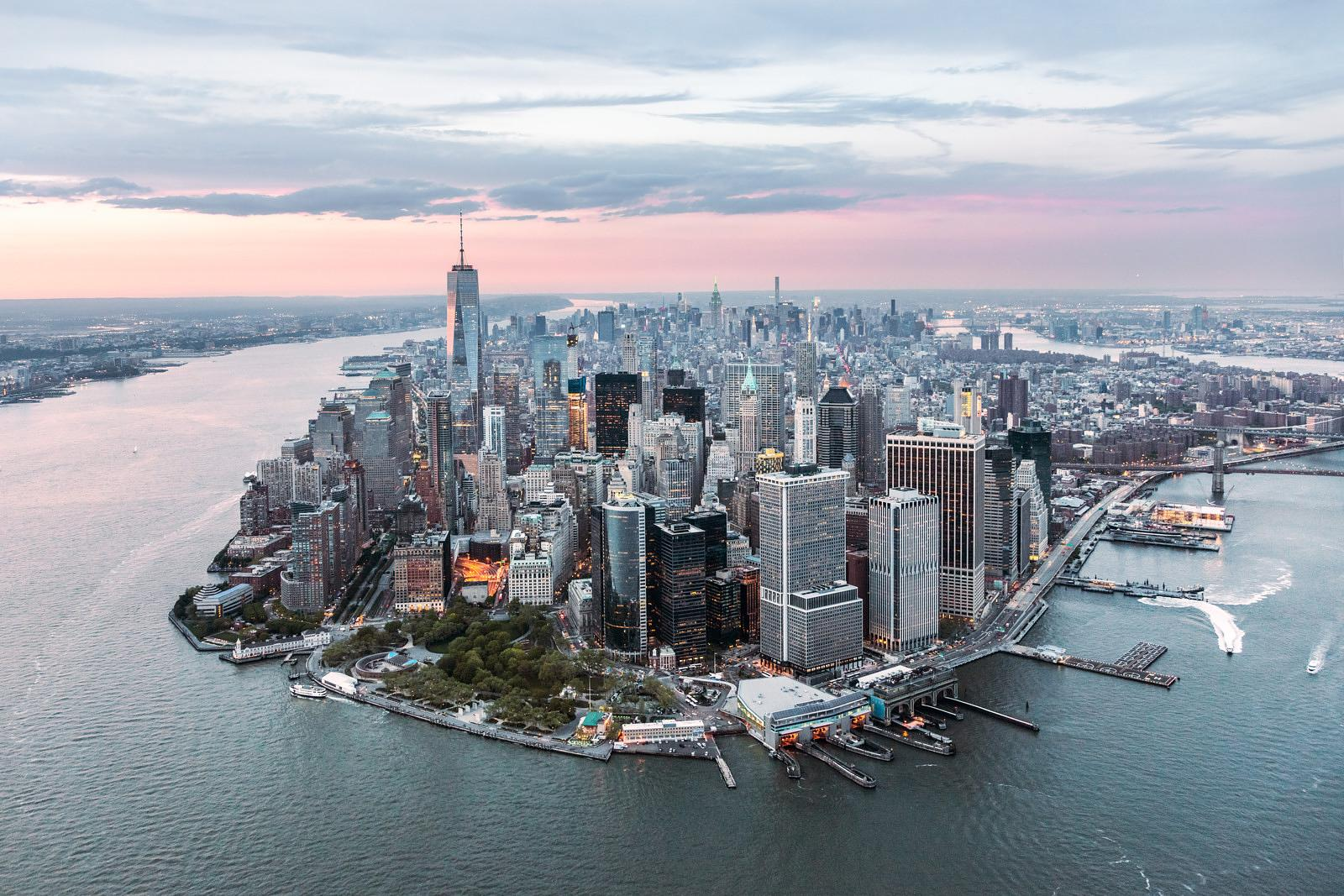 Aerial of lower Manhattan  at sunset, New York, USA