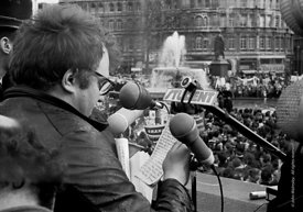 #70370,  The speakers, anti-Vietnam war demonstration march from Trafalgar Sq to Grosvenor Sq Sunday 17th March 1968.