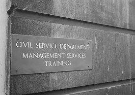 #124472,  Nameplate for the Civil Service Department, Management Services Training, London, 1973.