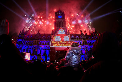 Manchester Christmas light switch on