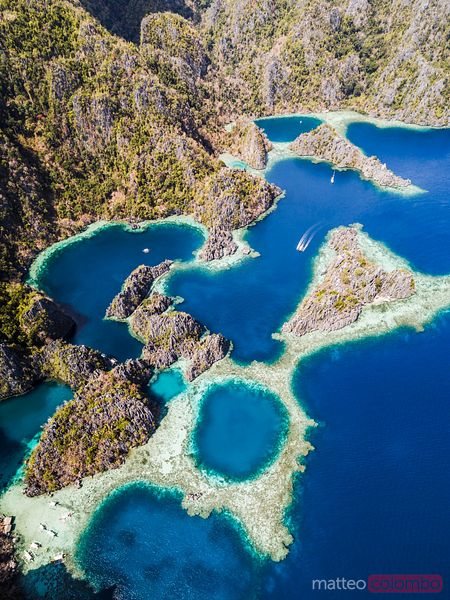 Aerial view of twin lagoon, Coron, Palawan, Philippines