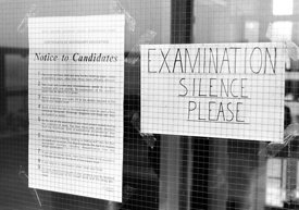 #83837,  Exam sign, Whitworth Comprehensive School, Whitworth, Lancashire.  1970.  Shot for the book, 'Family and School, Pen...