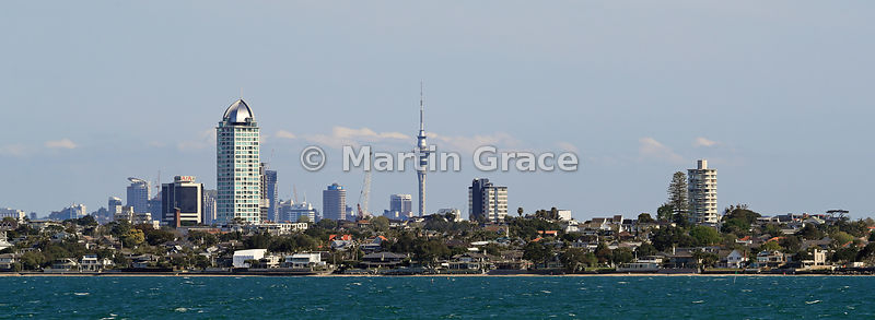 Auckland from Hauraki Gulf, North Island, New Zealand