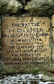 Image - Plaque on the Memorial Cairn, Culloden battlefield, Scotland.