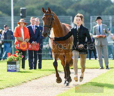 Becky Woolven and DHI BABETTE K at the trot up, Land Rover Burghley Horse Trials 2019