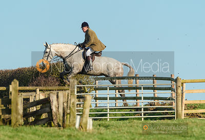 Johnny Arkwright jumping a fence off Hades Lane. The Quorn Hunt at Fox Covert Farm 10/1