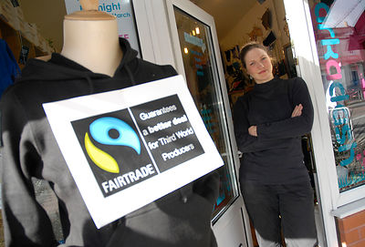 Beth Creedon wearing Fairtrade Clothes at 'Arkadash' Fairtrade clothes shop in Chorlton. For Features. .Picture by Damien Mag...