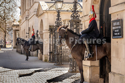 Empty pavements by the Mounted Guardsmen at Horseguards Parade