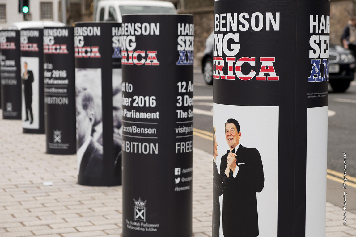 122185  Posters for an exhibition by Scottish photographer, Harry Benson, at the Scottish Parliament Building, Edinburgh
