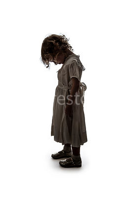 A semi-silhouette of a litle girl – shot from mid level.