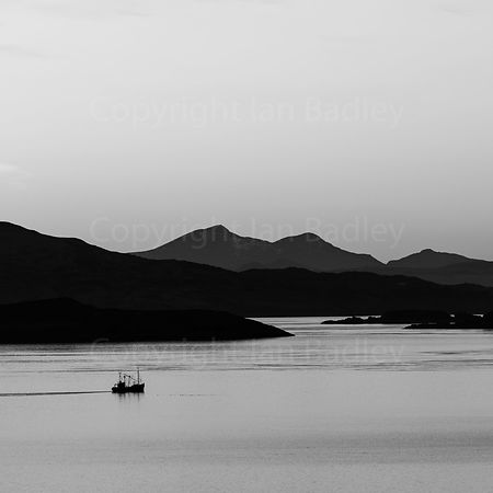 A fishing boat returns to the Kyles. BW