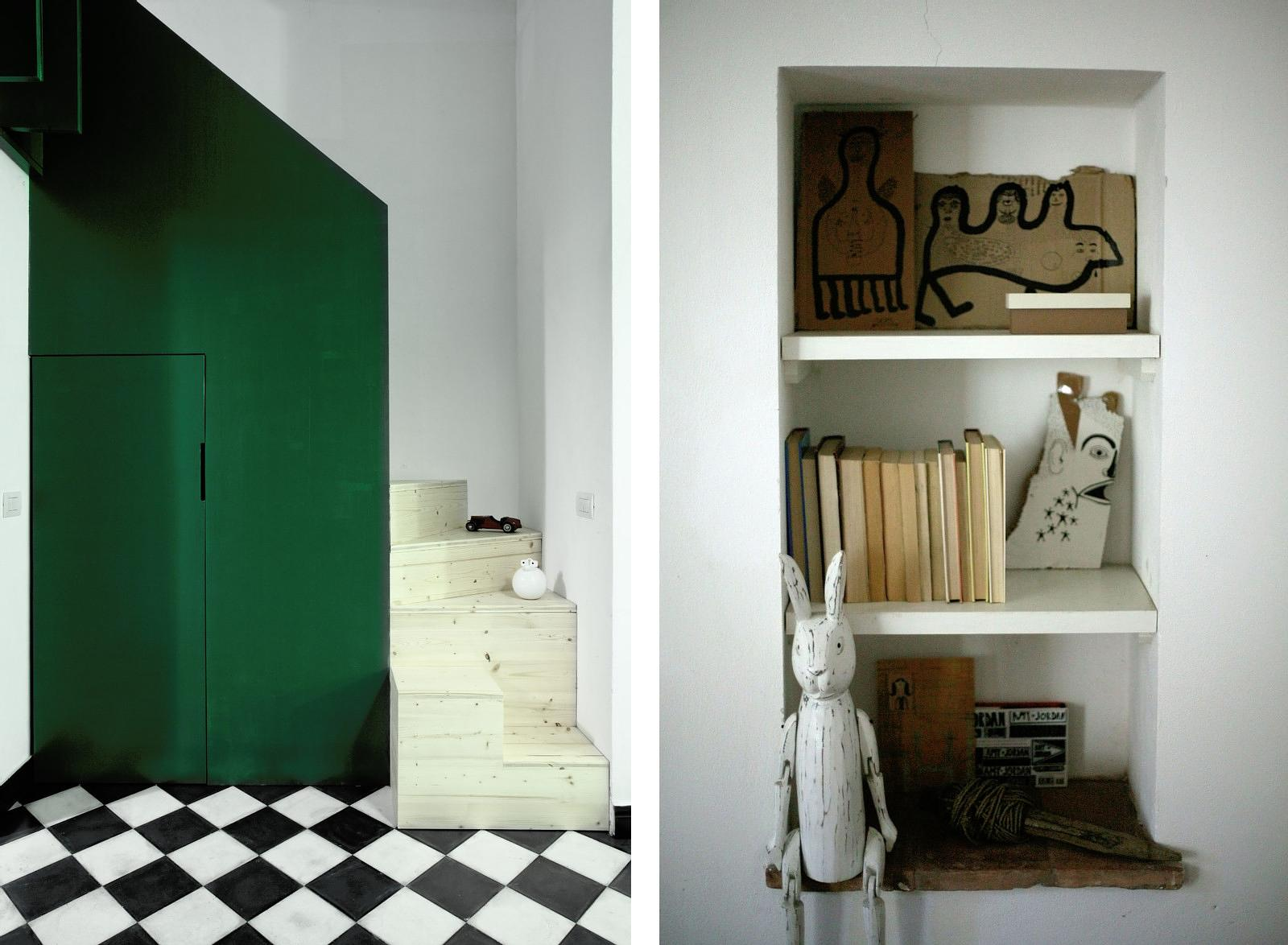 Home and studio of architect and designer Elena Cerizza – Object in a recessed bookshelf.