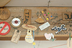 "#73000,  Individual ""Keys"" made by students for the ""In/Out"" board, carpentry workshop, Summerhill School, Leiston, Suffolk. ..."