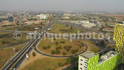 Villagio estate interchange, Accra from above, drone video