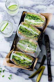 Green Goddess Sandwiches hand wrapped and served in a box