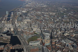 Liverpool high level view of the City Centre looking towards the docklands in the distance