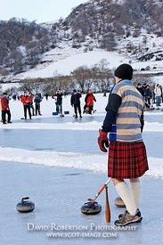 Image - Curler wearing a kilt, curling match, Lake of Menteith, Scotland